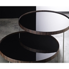 Adelphi Tall Round Black Side Table - Ebony Trim