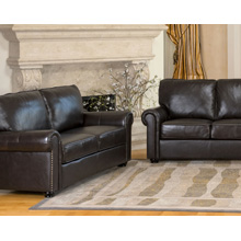 London Dark Brown Leather Loveseat and Sofa Set