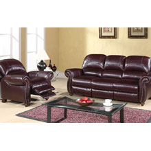 Cambridge Leather Pushback Reclining Sofa and Chair Set