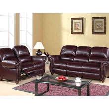 Cambridge Leather Pushback Reclining Loveseat and Sofa Set