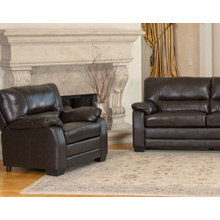 Brentwood Leather Armchair and Sofa Set in Dark Brown Leather