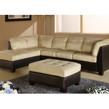 Charleston Two-Tone Cream Sectional Chaise and Ottoman