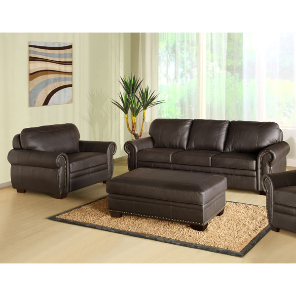 Bellavista Premium Italian Leather Oversized Sofa, Chair, and Ottoman Set