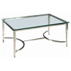 Sheila Contemporary Cocktail Table - Stainless Steel, Glass Top