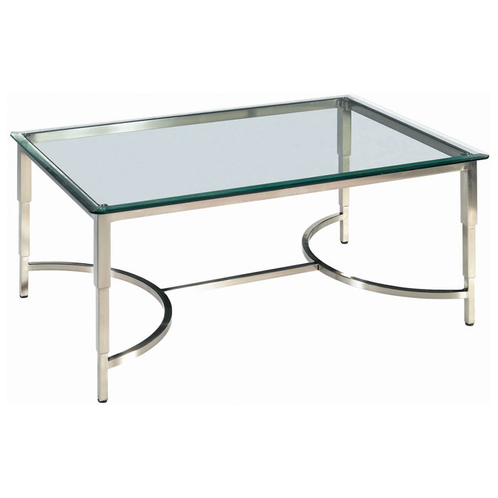 Sheila Contemporary Cocktail Table - Stainless Steel, Glass Top - ACD-20502-01-G
