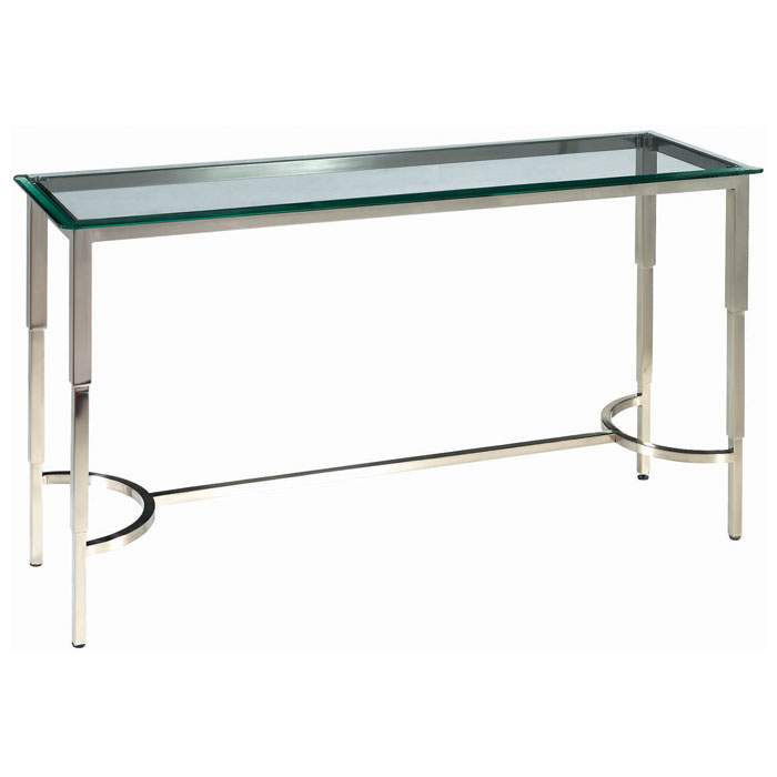 Sheila Contemporary Console Table - Stainless Steel, Glass Top