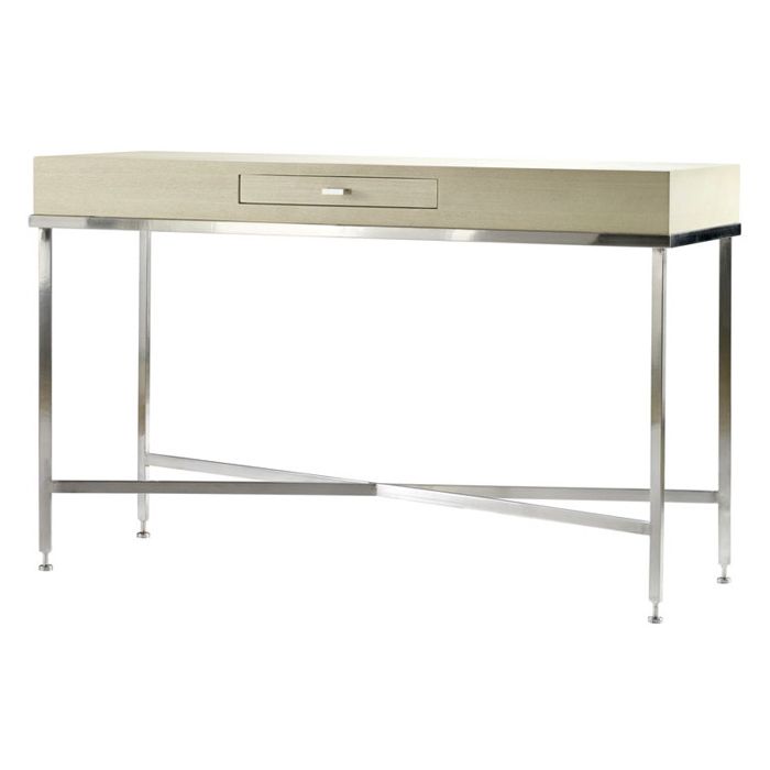 Galleria Console Table - Stainless Steel Base, White on Ash Top