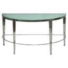 Sarah Half Moon Console Table - Polished Chrome, Frosted Glass