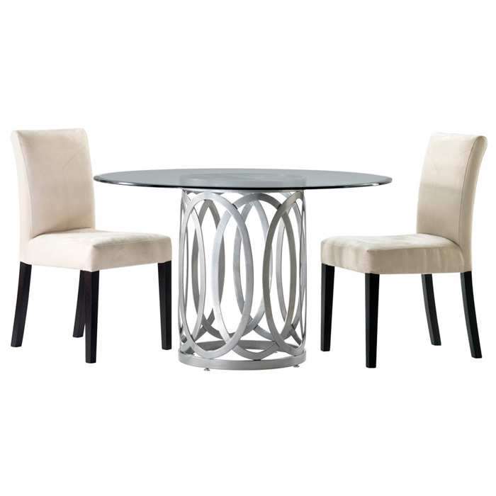 Alchemy Contemporary Dining Table - 42'' Round Glass Top - ACD-20603-04-G42R