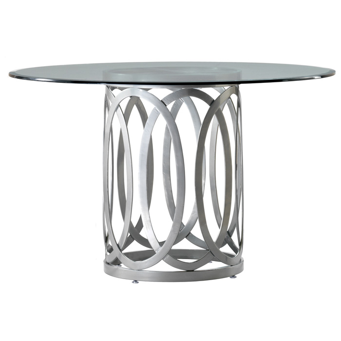 Alchemy Contemporary Dining Table - 42'' Round Glass Top