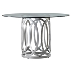 Alchemy Contemporary Dining Table - 42%27%27 Round Glass Top