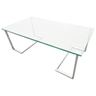 Edwin Cocktail Table - Chrome Plated Base, Rectangular Glass Top