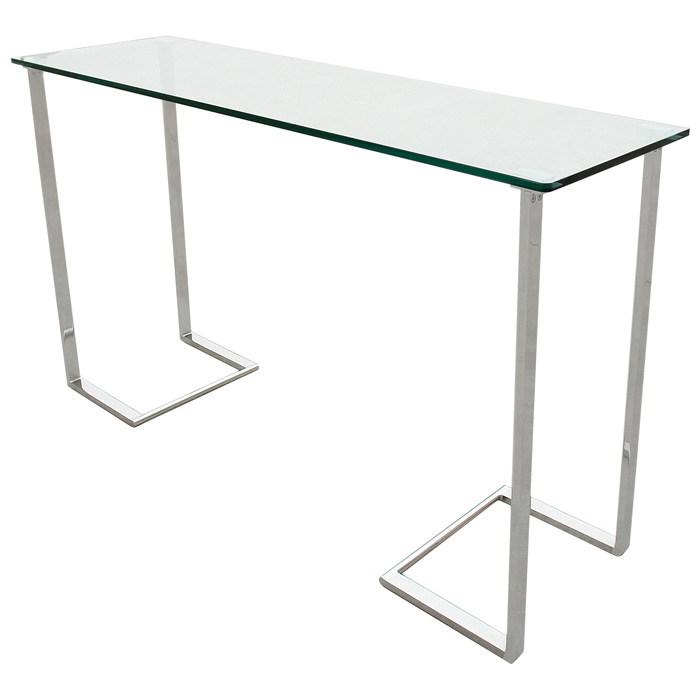 Edwin Console Table - Chrome Plated Base, Rectangular Glass Top - ACD-20803-03