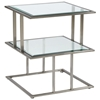 Mirage Square End Table - Brushed Stainless Steel, Clear Glass