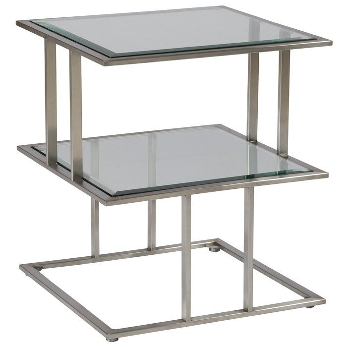 Mirage Square End Table - Stainless Steel, Smoked Grey Glass