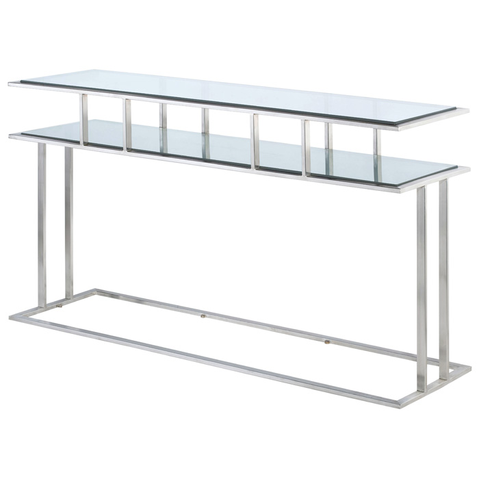 Mirage Console Table - Brushed Stainless Steel, Clear Glass