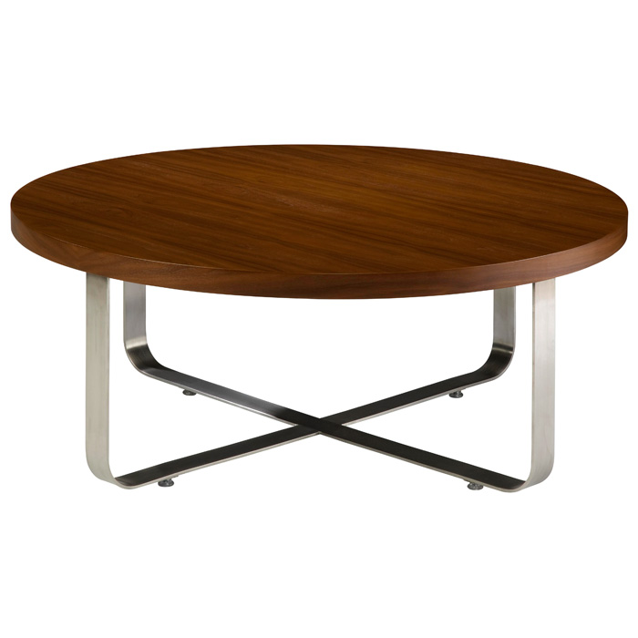 Artesia Round Cocktail Table - Walnut Stain Top, Satin Nickel Base - ACD-20901-01R-W