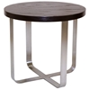 Artesia Round End Table - Mocha on Oak Top, Satin Nickel Base