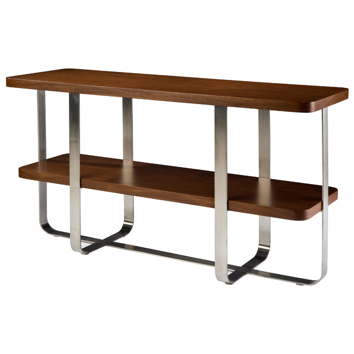 Artesia Contemporary Console Table - Satin Nickel Base