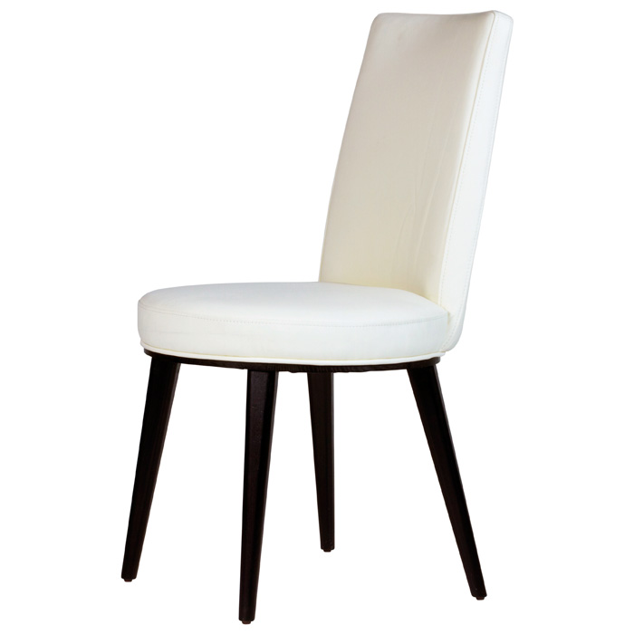 Artesia Dining Chair - White Bonded Leather, Mocha Wood Legs - ACD-20901-61-2PK