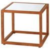 Grace Square End Table - Gold Leaf Metal, Mirror Glass Inlay