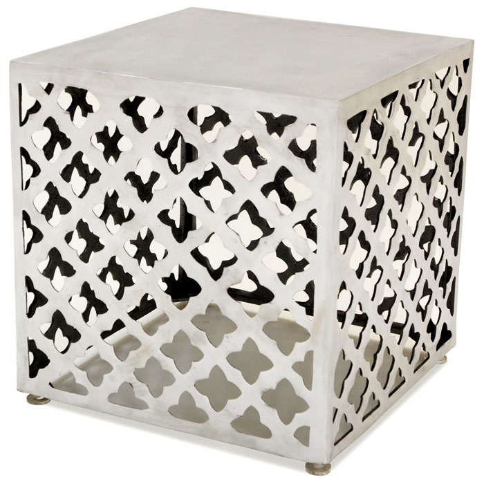 Grenada Square End Table - Polished Cast Aluminum - ACD-20908-02