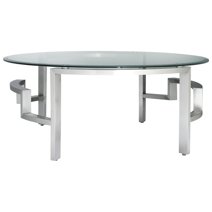 Stella Cocktail Table - Round Glass Top, Brushed Stainless Steel - ACD-21101-01R