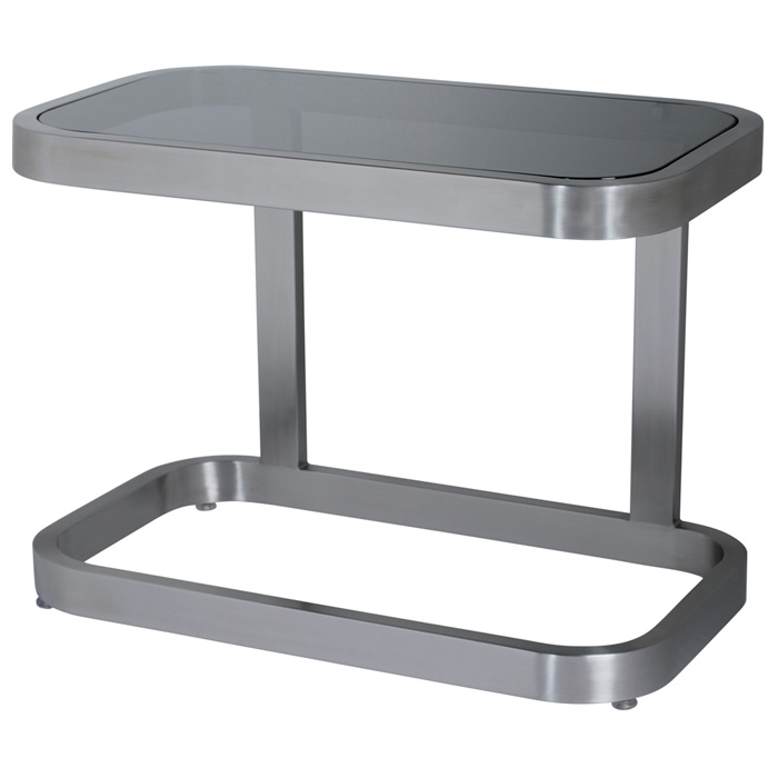 James End Table - Smoked Grey Glass, Brushed Stainless Steel - ACD-21104-02