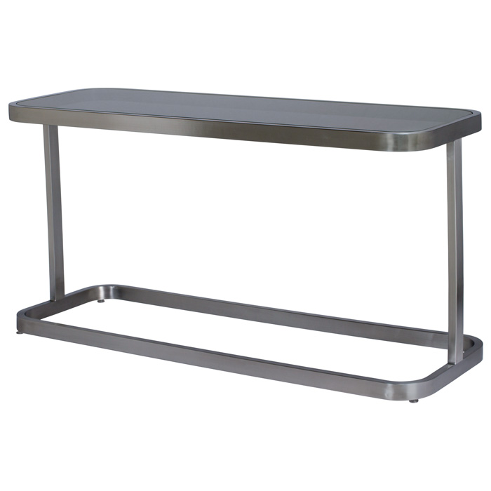 James Console Table - Smoked Grey Glass, Brushed Stainless Steel - ACD-21104-03