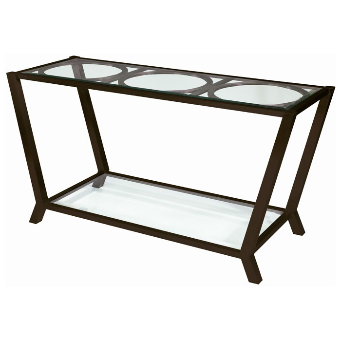 Veranda Console Table - Metallic Bronze, Glass Top & Shelf