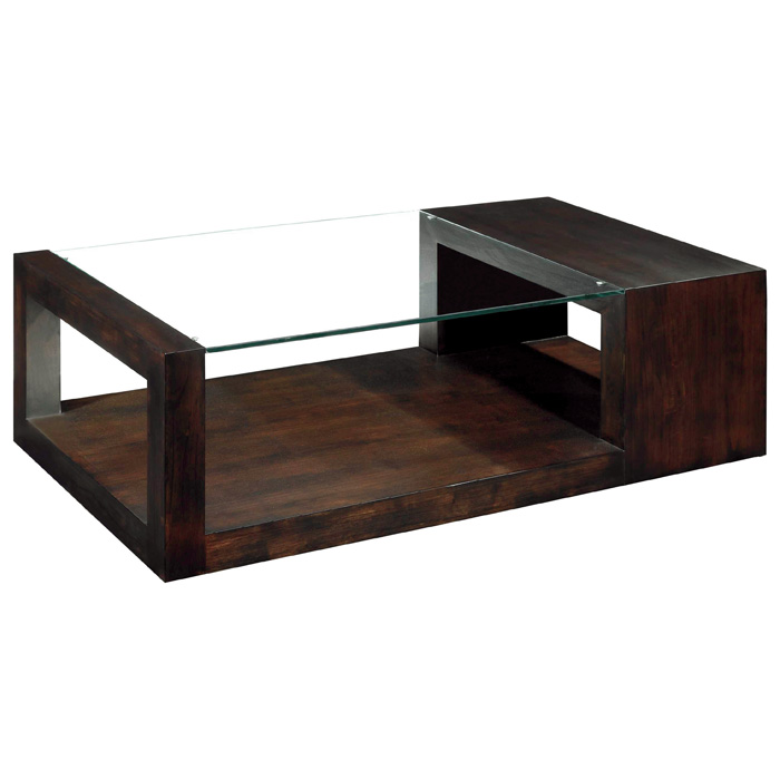 Dado Contemporary Cocktail Table - Espresso, Wood & Glass Top - ACD-30503-01