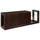 Dado Wood Buffet Table - Espresso, Glass Shelves, Hidden Drawers