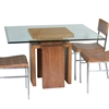 Sebring Dining Table - White Limed Cognac Base, Square Glass Top