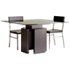 Sebring Dining Table - Mocha on Oak Base, 48'' Square Glass Top