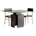 Sebring Dining Table - Mocha on Oak Base, 48 Square Glass Top