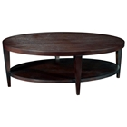 Marla Oval Cocktail Table - Espresso on Birch, Lower Shelf