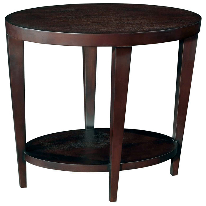 Marla End Table - Espresso on Birch, Lower Shelf, Tapered Legs
