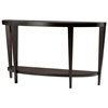 Marla Half Moon Console Table - Espresso on Birch, Lower Shelf