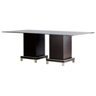 Force Dining Table - Mocha on Oak, Rectangular Glass Top