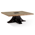 Bonita Square Cocktail Table - Zebrawood, Mocha on Oak