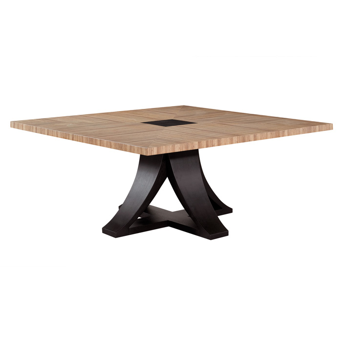 Bonita 66'' Square Dining Table - Zebrawood, Mocha on Oak