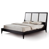 Bonita Panel Bed - Mocha on Oak, Cream Upholstery, Tapered Legs