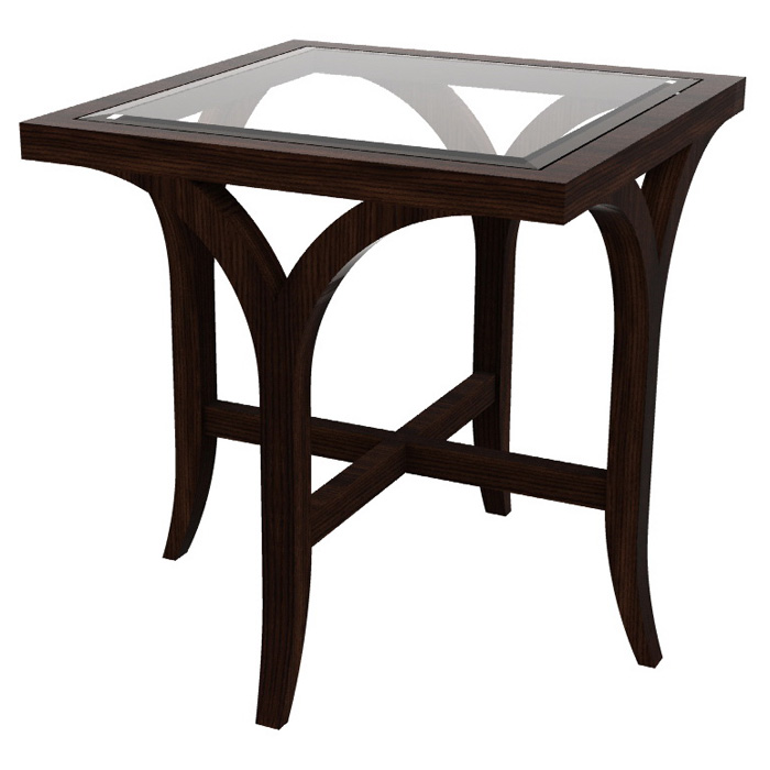 Sebastian End Table - Espresso on Birch, Square Glass Top