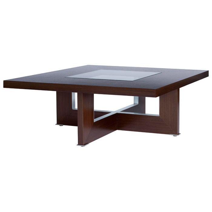 Bridget Cocktail Table - Espresso on Birch, Glass Insert, Square Top - ACD-31104-015