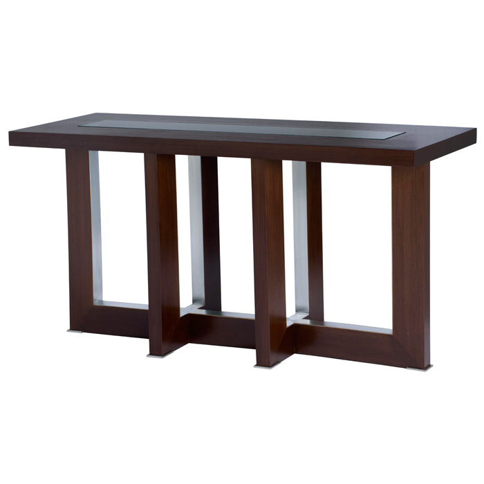 Bridget Console Table - Espresso on Birch, Glass Insert