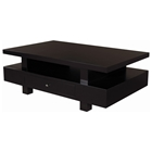 Lexington Wood Cocktail Table - Espresso, Elevated Top, 1 Drawer