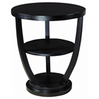 Concept Wood End Table - Black on Oak, Round Top