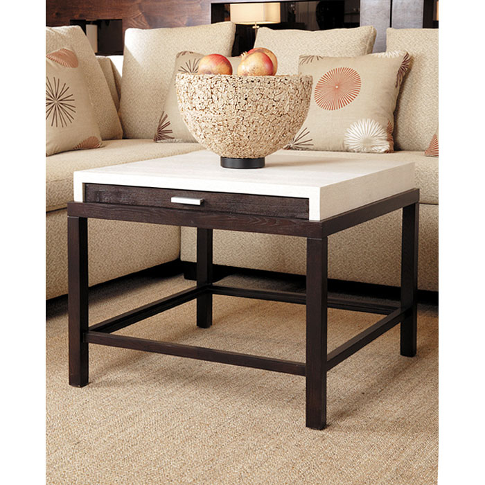 Spats Square End Table - White on Ash Top, Espresso Base - ACD-3403-02