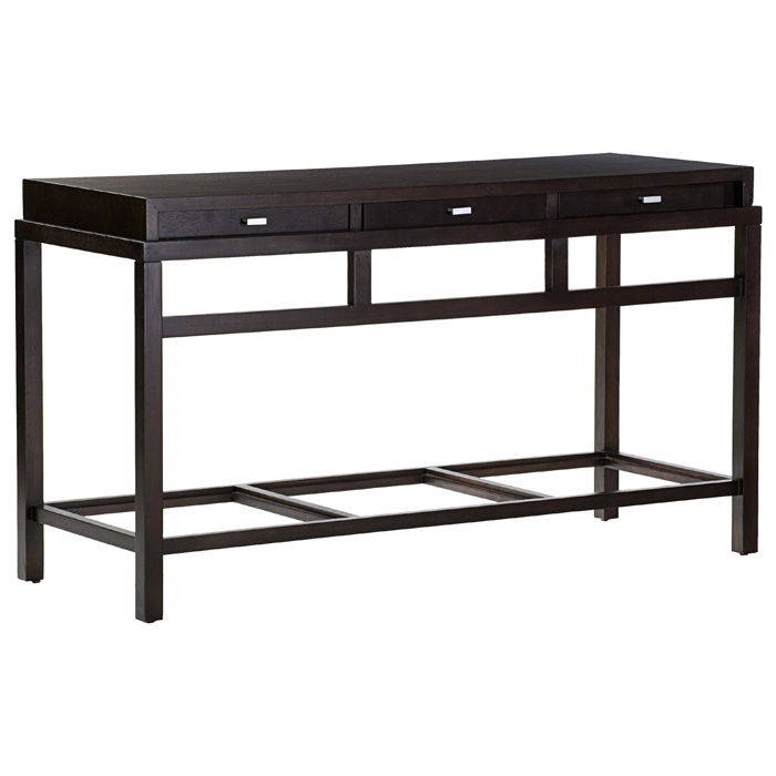 Spats Wood Console Table - Espresso, Satin Nickel Pulls, 3 Drawers - ACD-3403-03-E