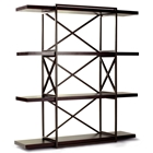 Snowmass 4-Shelf Bookcase - Espresso on Birch, Metal Supports